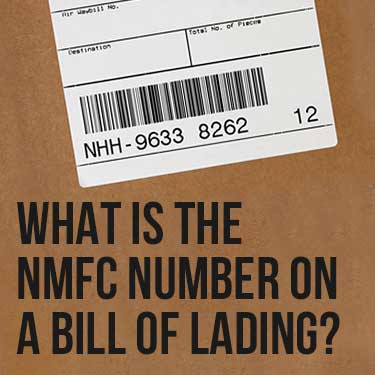 What is the NMFC number on a bill of lading