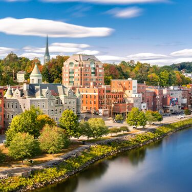 Shipping Freight from Maine to California Aerial skyline view of a town in Maine, USA